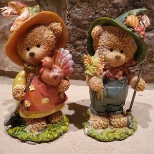 Fall Thanksgiving Teddy Bear Figurines